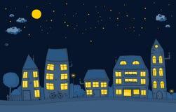 Улица шаржа на ноче Стоковые Изображения
