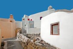 Улица Emporio на Santorini, Греции Стоковая Фотография