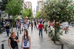 Улица Ermou в Афинах стоковое фото rf
