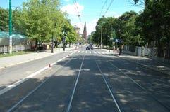 Улица Fredry в Poznan, Польше Стоковое Изображение RF