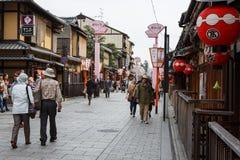 Улица Hanami-Koji в Киото, Японии Стоковое Изображение RF