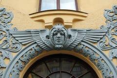 Улица Meistaru 10 части фасада здания Nouveau искусства Стоковые Фотографии RF