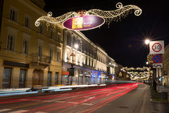 Улица Nowy Swiat в Варшаве Стоковая Фотография