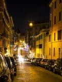 Улица Panisperna на ноче стоковая фотография rf