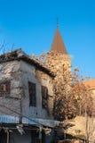 Улица Paphos и святая перекрестная католическая церковь на зеленой линии, Нико стоковая фотография