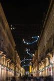 Улица Roma и свет искусства планетария, Турин Стоковое Фото