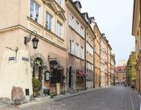 Улица Rycerska (рыцаря) в старом городке в Варшаве Стоковая Фотография