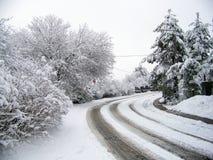 Улица Snowy Стоковое фото RF