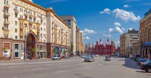 Улица Tverskaya и музей положения исторический Стоковые Изображения RF