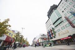 Улица Wangfujing на ноябре Ходя по магазинам фестиваль 11 в Китае Стоковое Изображение RF