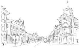 Улицы города и исторические здания иллюстрация вектора