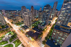 Улицы ночи Ванкувера Стоковые Фото