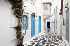 Улицы острова Mykonos, Греции Стоковые Фотографии RF