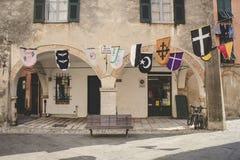 Улицы старого итальянского города Finalborgo Стоковое фото RF