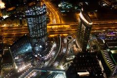 Улицы Дубай на ноче Стоковые Изображения RF