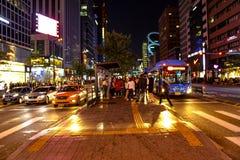 Улицы Gangnam, Сеул, Южная Корея Стоковая Фотография