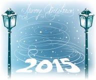 Уличный фонарь года сбора винограда рождества Стоковые Изображения