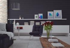 Удобная простая черно-белая живущая комната Стоковое Изображение