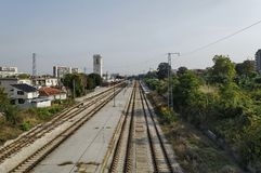 Уловка железнодорожного вокзала - взгляд сверху стоковые фото