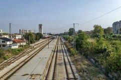 Уловка железнодорожного вокзала - взгляд сверху стоковые фотографии rf