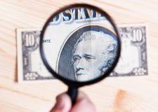 Удостоверение подлинности 10 долларов банкноты Стоковое фото RF