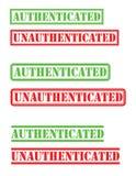 Удостоверенный unauthenticated штемпель стоковые изображения