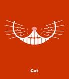 Улыбка кота на красной предпосылке также вектор иллюстрации притяжки corel зубы и wh иллюстрация вектора