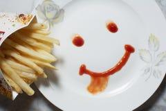 Улыбка нарисовала с кетчуп Стоковое Изображение