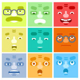 Улыбки установили предпосылку дела символа характера усика эмоций воплощения счастливую удивленную сердитым взрослым изолированну Стоковая Фотография