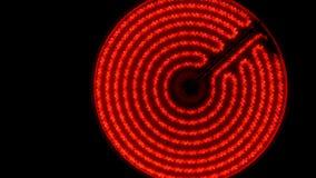 Ультракрасная электрическая плита поворачивает дальше, нагревает до максимума и  Съемка тележки видеоматериал