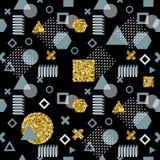 Ультрамодные карточки Мемфиса абстрактная картина безшовная Ретро текстура, картина и геометрические элементы стиля абстрактное с Стоковые Изображения RF