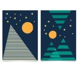 Ультрамодные карточки Мемфиса геометрических элементов Ретро текстура стиля, картина Стоковая Фотография