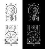 Ультрамодные ретро винтажные Insignias - вектор значков установил с маяком Стоковые Изображения RF