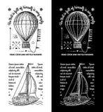 Ультрамодные ретро винтажные Insignias - вектор значков установил с шлюпкой Стоковая Фотография