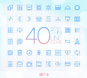 40 ультрамодных тонких значков установили 6 Стоковая Фотография RF
