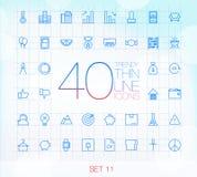 40 ультрамодных тонких значков для сети и черни установили 11 Стоковые Изображения