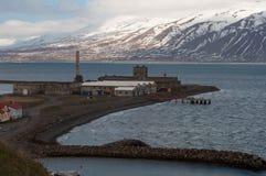 Фабрика в городке Hjalteyri в северной Исландии Стоковое Фото