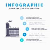Фабрика, промышленный, индустрия, производство, шаблон Infographics продукции для вебсайта и представление Значок глифа серый с иллюстрация вектора