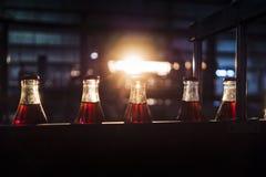 Фабрика соды, полные бутылки, который нужно свернуть в линии со светом захода солнца стоковая фотография rf