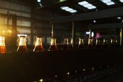 Фабрика соды, полные бутылки, который нужно свернуть в линии со светом захода солнца стоковое изображение rf