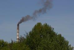 Фабрика с промышленными стогами дыма на природе Стоковое Изображение RF