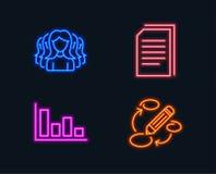 Файлы гистограммы, экземпляра и группа женщин значки Знак ключевых слов Тенденция экономического развития, копируя документы, обс Стоковая Фотография