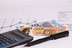 Файлы, экономика, документы, банк, деньги и сбережения планируют Стоковое Изображение