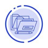Файл, папка, дата, безопасная линия значок голубой пунктирной линии иллюстрация штока