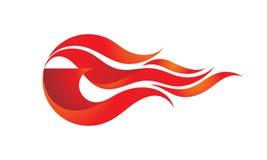 Файрбол - иллюстрация концепции шаблона логотипа вектора Знак пламени огня Горячий теплый символ вектор изображения иллюстрации э иллюстрация штока