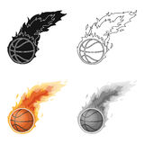 файрбол Значок баскетбола одиночный в сети иллюстрации запаса символа вектора стиля шаржа иллюстрация вектора