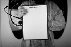 Файл стетоскопа доктора черно-белый Стоковые Фото