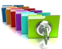 Файлы при ключевая расклассифицированная выставка конфиденциальная и Стоковые Фото