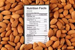 Факты питания миндалин Стоковое фото RF