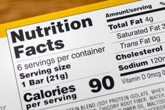 Факты питания служа калории обозначают калории стоковые изображения rf